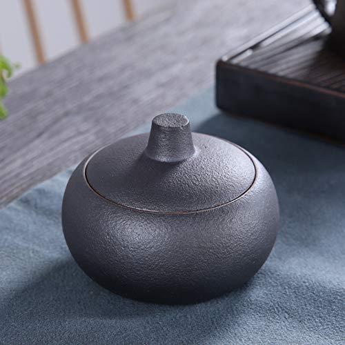 ZZSIccc Ashtray Stoneware Ashtray Japanese Creative Retro Ashtray Personality Ceramic Large Windproof Black Office Living Room Tea Room B ()