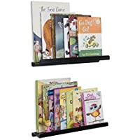 Wallniture Kids Floating Bookshelves - Nursery Room Décor Bookcase Display Metal Ledges Black 17 Inch Set of 2