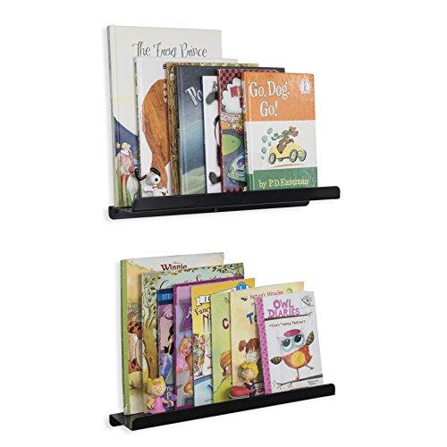 Wallniture Kids Floating Bookshelves - Nursery Room Décor Bookcase Display Metal Ledges Black 17 Inch Set of 2 -