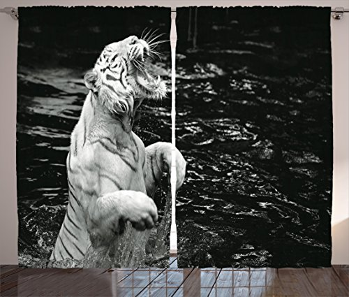 "Ambesonne Safari Curtains, White Tiger Wintertime Rare Animal Portrait Eyes Wildlife Environment, Living Room Bedroom Window Drapes 2 Panel Set, 108"" X 90"", Pale Grey"