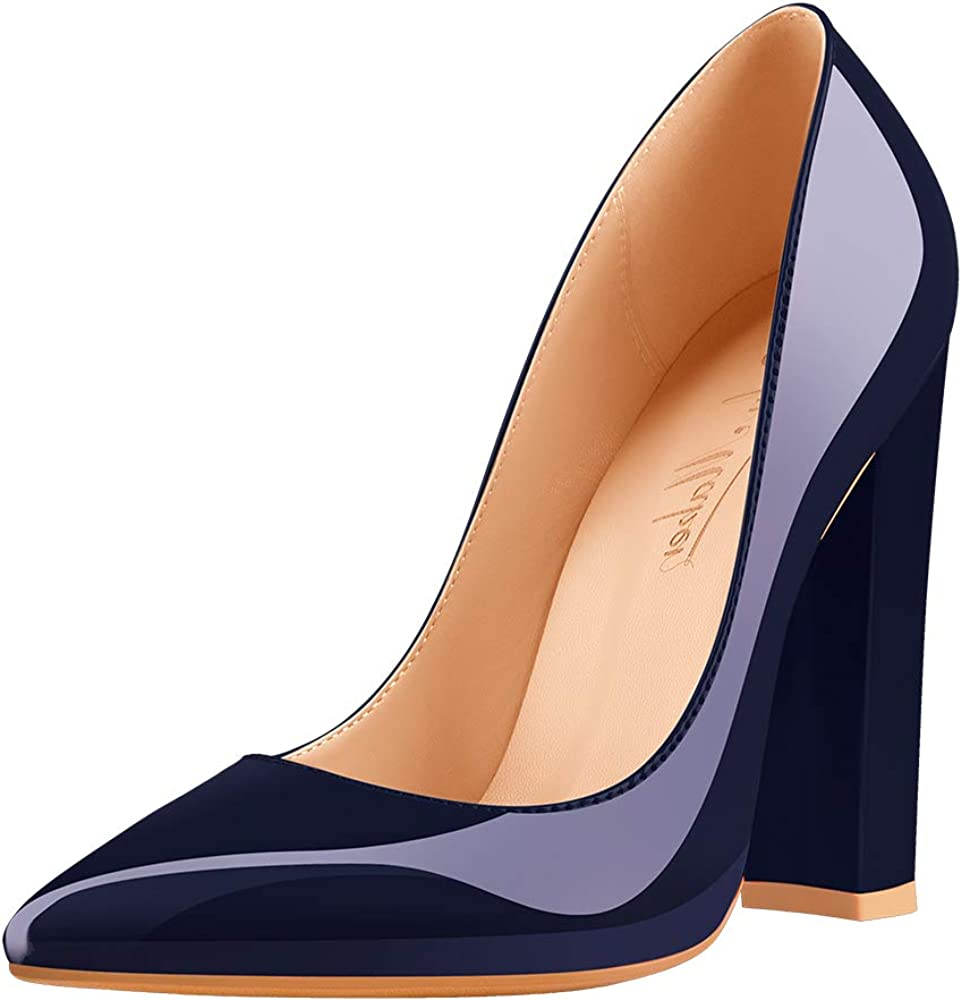 Onlymaker Womens Pointed Toe Block Chunky Classic High Heels Slip-On Shoes Wedding Office Party Pumps