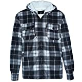 Winter Heavy Warm Sherpa Lined Fleece Plaid Flannel Jacket Men Plus Size S-5XL Big&Tall Mens Coat (Large, Black as Shown)