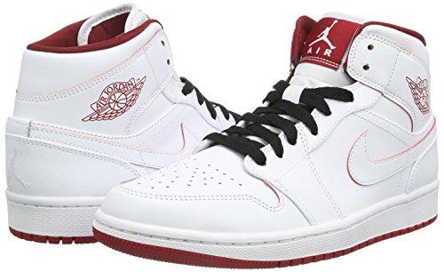 Nike Heren Air Jordan 1 Mid Basketbalschoen Wit / Gym Rood / Zwart