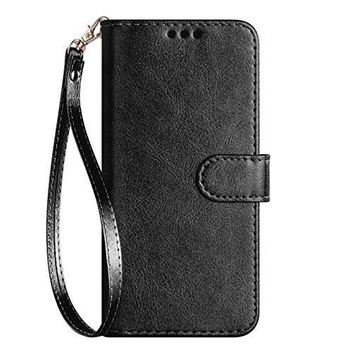 (iPod Touch Case 7th Generation 2019 5th / 6th, for iPod 5/6 / 7 with Screen Protector Leather Bling Glitter Wallet Kickstand Card Holder Slot for Men Boys Girls/Women (Black(Pure)))