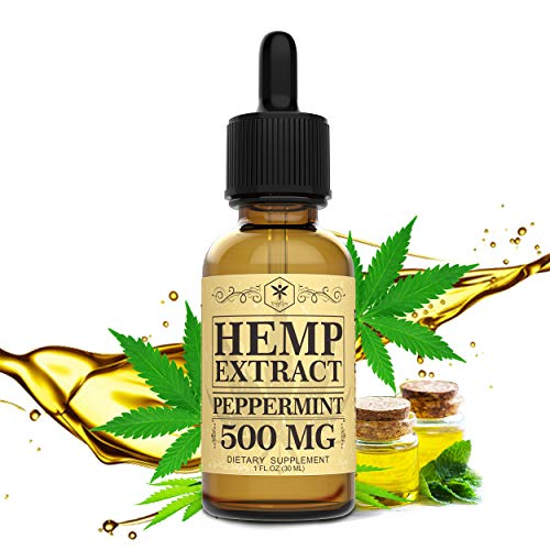 Hemp Oil 500mg for Pain Relief, Stress and Anxiety Relief, Better Sleep   100% Natural, Organic, Vegan, Non-GMO   500mg…