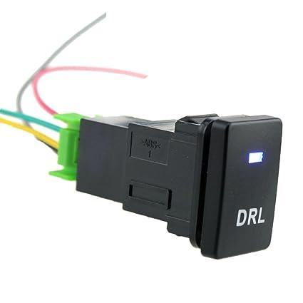 Interruptor De Botón 4 Polos Azul Led Con Drl Patrón De Luz Para ...
