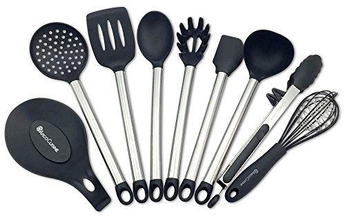 Arco Cuisine 9 Piece Stainless Steel and Silicone Kitchen Utensil Set - Slotted Turner/Flipper, Spoon, Spatula, Ladle, Pasta Server, Strainer, Food Tongs with Stand, Cage Whisk and Spoon Rest