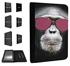 424 - Monkey Hipno Glasses Chimp Design Fashion Trend TPU Leather Flip Case For Amazon Kindle Fire HD 6'' 2014 Full Case Flip TPU Leather Purse Pouch Defender Stand Cover
