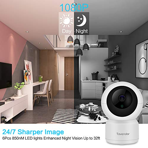 Tovendor WiFi Camera, 1080P Indoor Security Camera Night Vision for Home Office, Elderly Baby Monitor Pet Camera with 2-Way Audio, Motion Activated Alert