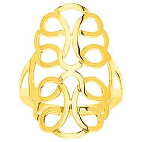 So Chic Jewels - Ladies 9k Yellow Gold Arabesque Pattern Ring - Size 8.75