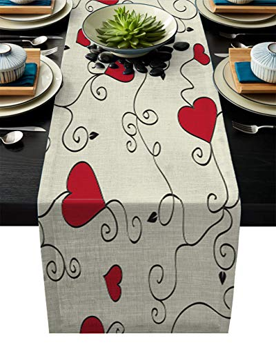 SIMIGREE Valentine's Day Heart Rattan Red and Beige Table Runner Heat Resistant Washable 14
