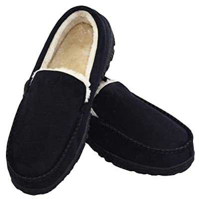 VLLY Slippers for Men Indoor Outdoor Slip On Moccasin Slippers with Anti-Slip Memory Foam | Slippers
