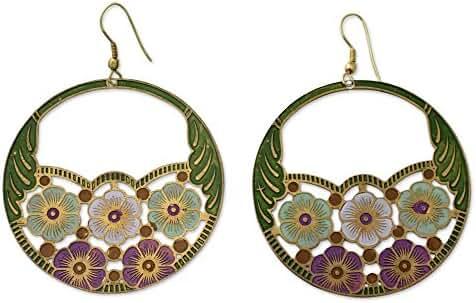 NOVICA Brass Hook Earrings 'Flower Garden'