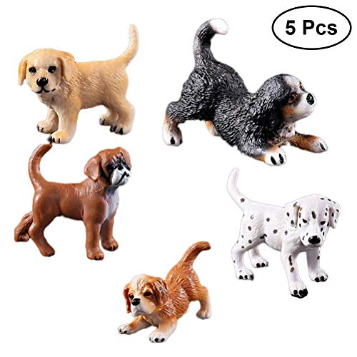 Easyflower Suitable for Party Favors 5pcs Realistic Dog Figure Toy Funny Plastic Dog Model Toy Cute Ornaments for Kids -