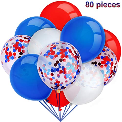 80 Pieces Independence Day Balloons Set Confetti Balloons Latex Balloons for Birthday Baby Shower Wedding Graduation 4th of July Decorations, 12 Inch (Red, Blue, White) ()