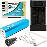 Olympus E-30 Battery with Universal Charger, 3000mAh Portable External Battery Charger, Dual USB Car Plug & Multiple USB Cable - Replacement Olympus BLM5 Digital Camera Battery and Charger
