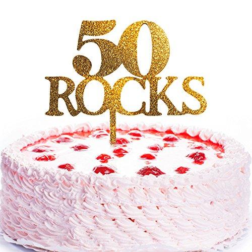 JennyGems Birthday Cake Topper 50 Rocks - 50th Birthday Decor