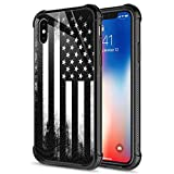 iPhone Xs Case,9H Tempered Glass iPhone X Cases for Men Boys, Black Retro American Flag Pattern Design Shockproof Anti-Scratch Case for Apple iPhone X/XS 5.8-inch Retro Flag