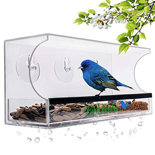 YestBuy Acrylic Bird Feeder - Bird Feeders for Outside - Clear Bird Feeder for Window - Acrylic Bird Cage Tray - Clear Bird House Feeder - Premium Bird Feeder with Tray & Compartments + Suction Cups ... ()