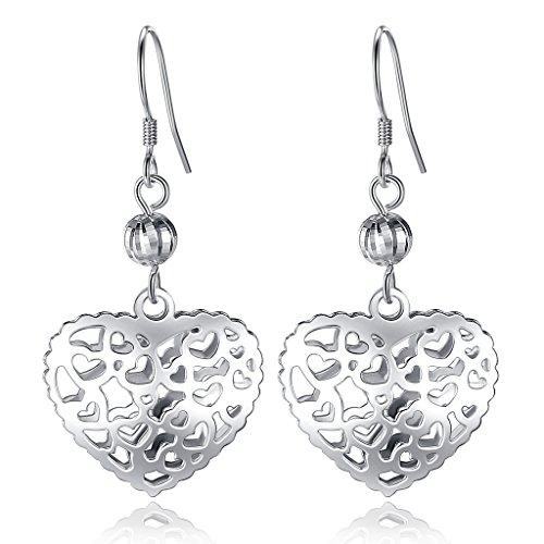 EVER FAITH Women's 925 Sterling Silver Filigree Cut-Out Puffed Love Heart Hook Dangle Earrings