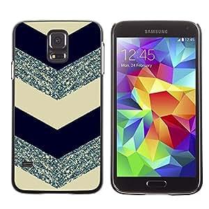 LOVE FOR Samsung Galaxy S5 Chevron Pattern Glitter Silver Black Personalized Design Custom DIY Case Cover