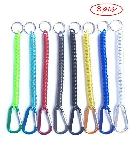 Happyi 8Pcs Colorful Flexible Theftproof Spring Coil Cord Keychain Ring with Clip Fishing Lanyards Boating Multicolor Fishing Ropes Secure Pliers Lip Grips Tackle Fish Tools