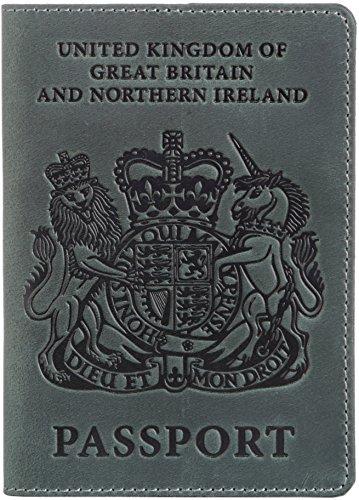 Shvigel Leather Passport Holder British Passport Cover Case for Men /& Women
