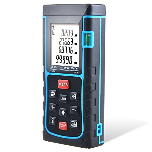 (Distance Laser Measurer, CiBest 328ft/100m Portable Laser Distance Meter Rangefinder Finder Handheld Measure Instrument with Min/in/ft, Tape Measure 0.05 to 100m (0.16 to 328ft) (100M) )