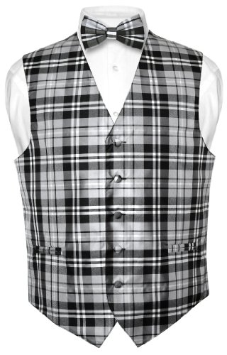 Men's Plaid Design Dress Vest & BOWTie Black Gray White BOW Tie Set Large Plaid Dress Set