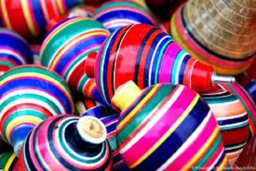 Multi-Color Wood Trompo Mexican Traditional Toy Product From Mexico Handmade, new without tags.