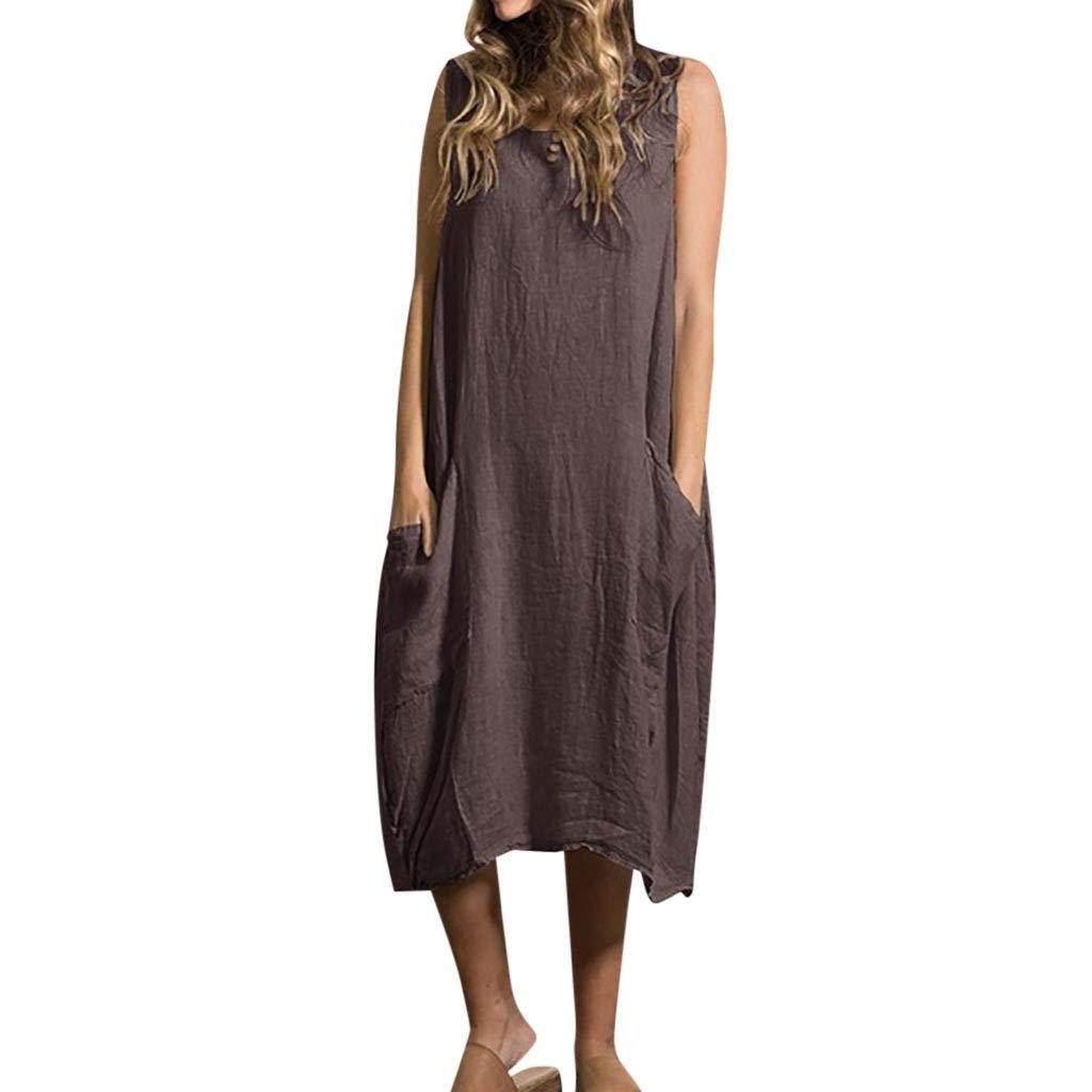 Zaidern Women Dress Women's Summer Sleeveless Style Feminino Vestido Cotton Casual Plus Size Ladies Dresses Sundress Coffee