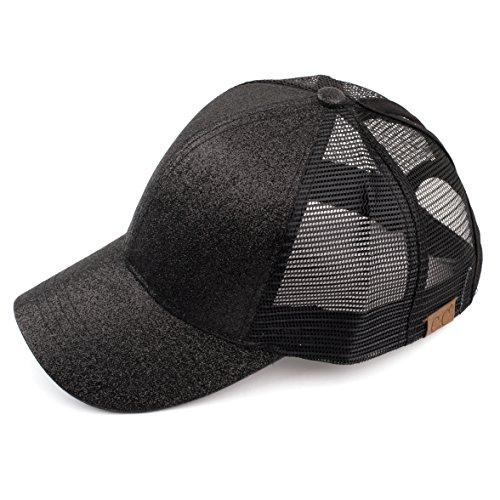 C.C Hatsandscarf Ponytail caps Messy Buns Trucker Plain Baseball Cap (BT-6) (Glitter-Black)