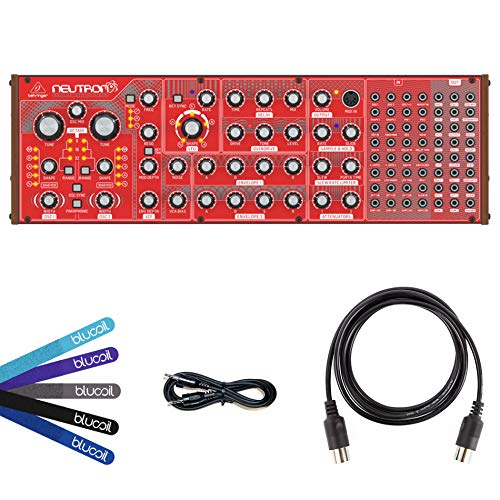 Behringer Neutron Analog Synthesizer Bundle with Hosa 3-Feet CMM-103 TRS to Same Stereo Interconnect Cables (2-Pack), Blucoil 5-Feet MIDI Cable and 5-Pack of Cable ()