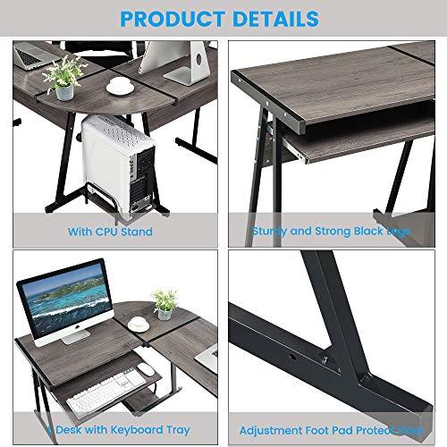 GreenForest Office Desk Corner L Shaped Workstation Laptop Table with Keyboard,Walnut by GreenForest (Image #5)