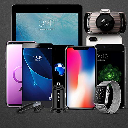 Dual Usb Car Charger,4.8A Car Adapter Usb Charger, Micro Usb Car Charger For Iphone 7 8 X 6 6S IPad Air Mini Samsung Galaxy S9 S7 And More Android Phone
