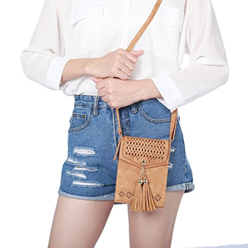 Bag Message Bag Tassel Bag Samsung 1 Smartphone Shoulder Cross Cellphone Body Tassel iPhone Wallet Small Inch with Purse for Travel Brown Under 7 SeOSTO Mini q7OnE