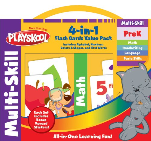 Playskool Flash Cards Value Pack - Alphabet/First Words/Shapes & Colors/Numbers PreK - K