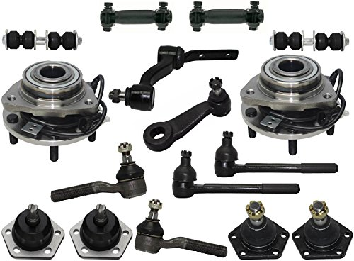 PartsW 16 Pcs Kit Front Wheel Bearing and Hub Assembly Tie Rod Adjusting Sleeves Inner Outer Tie Rod Ends Upper Lower Ball Joints Pitam Idler -