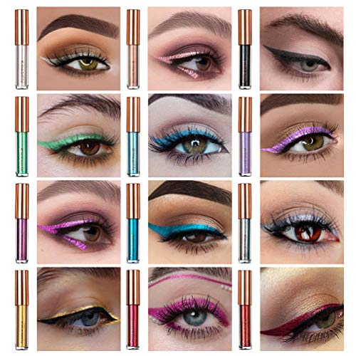 Colored Metallic Liquid Eyeliner Set, Kmeamty 12 Pcs Colored Winged Long Lasting Waterproof Neon Eyeliners (12)