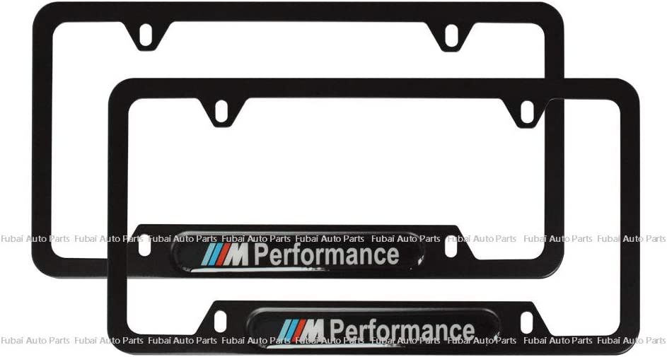 GMC cargogogo 2pcs Stainless Steel License Frame with for GMC,with Screw Caps Cover Set-Black