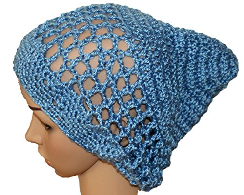 Woman Summer Slouch Hat, Lightweight Oversize Hipster Beanie, Blue Womens Rasta, Boho Style Hat, Tam, Crochet Mesh - Crochet Tam Rasta