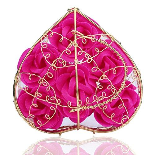 Vinjeely Random Heart Scented Bath Body Petal Rose Flower Soap Wedding Decoration (Hot Pink)