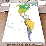iPrint Bed Skirt Dust Ruffle Bed Wrap 3D Print,America with Countries Capitals and Major Cities,Fashion Personality Customization adds Color to Your Bedroom. by 59''x78.7''