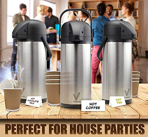 Airpot Coffee Carafe - Thermal Beverage Dispenser (102 oz.) By Vondior. Insulated Stainless Steel Coffe Thermos Urn For Hot/Cold Water, Pump Action Airpot, Party Chocolate Drink by Vondior (Image #2)