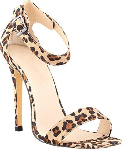 Wedding Simple Job Toe Ankle Leopard Salabobo Nightclub Bridesmaid OL Party Heeled Open Sandals 102 Straps Ladies Snake 3SW PU Bride nzwxfzgq