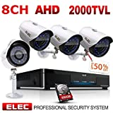 ELEC 1080P 8CH 1080N Video Security System DVR (4) 1.3MP 2000TVL Indoor Outdoor Weatherproof Security Cameras CCTV Surveillance, 65ft IR LED Night Vision, 500GB Hard Disk Drive (8CH 4CAM+500GB)