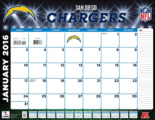 "Turner San Diego Chargers 2016 Desk Calendar, January-December 2016, 22 x 17"" (8061550)"