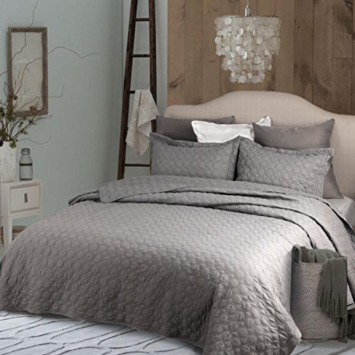 "Bedsure Gray Quilt Set-Full Queen Size Bedspread 90""x96"" -3"
