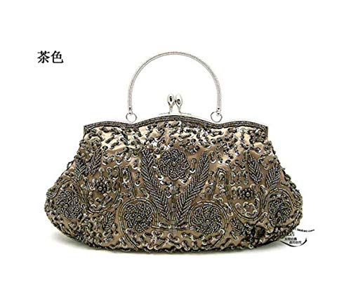 Dinner JUZHIJIA Handbags Handmade Wedding Bags Tan Beads Bags Wind Embroidered All Silk Ethnic ORPO8