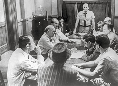 Twelve Angry Men Having a Meeting in Black and White Photo Print (10 x 8)